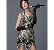 economico -The Great Gatsby Charleston Ruggenti anni '20 1920s Vintage vestito da vacanza Vestito del flapper Abito da cocktail Per donna Lustrini Costume Dorato Vintage Cosplay Feste Rimpatriata di classe