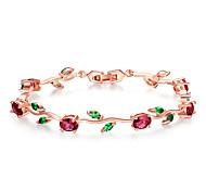 economico -catena a foglia color oro rosa& bracciale a maglie con zircone verde aaa rosso per gioielli regali madre lunga 19 pietra principale a forma di uovo 5 * 7 occhio 5 * 3 mm