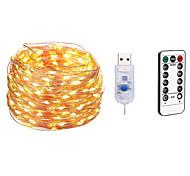 abordables -10m ensembles de lumière guirlandes de Noël 100 LED 13 touches à distance double contrôle étanche fête de noël chambre de vacances décoration de mariage 5 V alimenté par USB