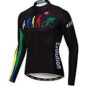 economico -21Grams Evoluzione Per uomo Manica lunga Maglia da ciclismo - Nero Bicicletta Maglietta / Maglia Superiore Resistente ai raggi UV Asciugatura rapida Traspirazione umidità Gli sport Inverno Elastene