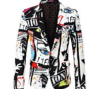 abordables -Homme Soirée Vacances Enterrement de vie de garçon / fille Abstrait / 3D Standard Polyester Pour des hommes Costume Blanche - Revers Cranté