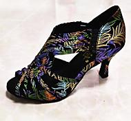abordables -Femme Chaussures Latines Chaussures de Salsa Talon Cristal / strass Détail Cristal Talon Cubain Vert / jaune. Bande élastique