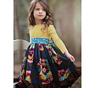 abordables -Enfants Petit Fille Robe Fleurie Bleu Marine Mi-long Manches Longues Le style mignon Robes Standard