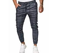 economico -Per uomo Essenziale Moda città Chino Pantaloni della tuta Pantaloni A strisce Tinta unita Lunghezza intera A cordoncino Grigio