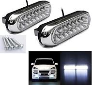 abordables -1 pcs 2 wcar led signal ampoule drl travail voiture feux de jour brouillard blanc 16 led lumière lampe super lumineux drl style de voiture 12 v