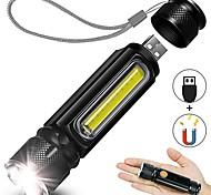 abordables -USB rechargeable lampe de poche led poche lampe de poche avec lumière latérale aimant zoomable 4 modes ip65 étanche pour camping randonnée urgence et utilisation quotidienne