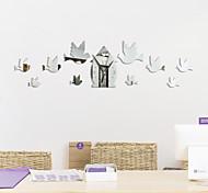 abordables -3D DIY Horloge Murale Décor Autocollant Miroir Forme D'oiseau DIY Acrylique Horloge Murale Kit Pour La Maison Salon Chambre Bureau Décoration