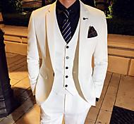 abordables -Blanche / Noir / Bleu Couleur Pleine Coupe Slim Polyester Costume - Cranté Droit 1 bouton / costumes