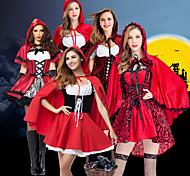 abordables -Déguisement Halloween Femme Conte de Fée Le petit Chaperon rouge robe de vacances Robe Costume de Cosplay Manteau Noël Halloween Carnaval Blanc + rouge. Rouge + noir. Rouge Costumes Carnaval