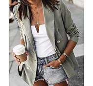 abordables -blazer à poche à revers pour femme outwear veste de bureau boutonnée à manches longues