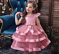 abordables -robe mi-longue sans manches en couches de couleur unie active douce pour fille rose