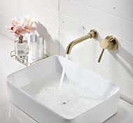 abordables -Robinet lavabo - Montage mural / Séparé Doré Montage mural Mitigeur deux trousBath Taps