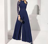 abordables -Combinaisons Elégant Invité de mariage robe ceremonie Robe Bijoux Manches Longues Longueur Sol Mousseline de soie avec Ceinture / Ruban Billes 2021
