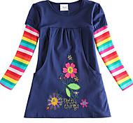 abordables -Enfants Petit Fille Robe Rayé Bleu Roi Robes