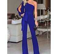 abordables -Combinaison-pantalon Femme Couleur Pleine Blanche Noir Bleu Violet Rouge Rose Claire Vert S M L XL