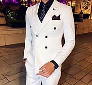 abordables -Blanche / Noir / Bleu Couleur Pleine Coupe Slim Polyester Costume - Cranté Croisé 4 boutons