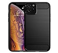 abordables -téléphone Coque Pour Apple Coque Arriere iPhone 12 Pro Max 11 SE 2020 X XR XS Max 8 7 6 Antichoc Ultrafine Lignes / Vagues Couleur unie TPU Fibre de carbone