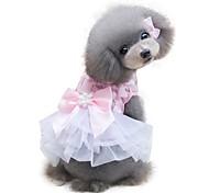 economico -Cane Vestiti Vestiti del cucciolo Fiocco Moderno Di tendenza Matrimonio Abbigliamento per cani Vestiti del cucciolo Abiti per cani Giallo Rosa Costume per ragazza e ragazzo cane Chiffon XS S M L XL