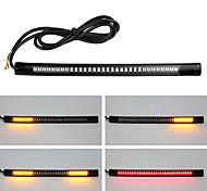abordables -2 pcs flexible moto frein lumière 48led plaque d'immatriculation lumière rouge ambre queue frein stop clignotant lampe avec câble fil