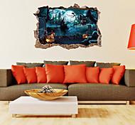 abordables -halloween fête halloween décor horreur fantôme halloween3d stickers muraux stickers muraux décoratifs, pvc décoration de la maison sticker mural décoration murale / amovible 69 * 46cm