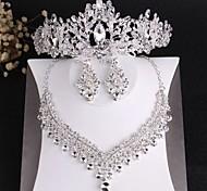 abordables -femmes cristal clair reine princesse ensembles de bijoux de mariée couronne classique mode de luxe boucles d'oreilles en strass collier bijoux pour les fiançailles de mariage