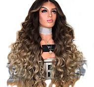 abordables -Perruque Synthétique Droit crépu Partie médiane Perruque Longue Or clair Cheveux Synthétiques 28 pouce Femme Dégradé de Couleur Blond