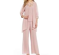 abordables -Tailleur-pantalon Robe de Mère de Mariée  Combinaison-pantalon Bijoux Longueur Sol Mousseline de soie Manches 3/4 avec Appliques Ruché 2021
