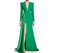 abordables -Trompette / Sirène Elégant Invité de mariage robe ceremonie Robe Col en V Manches Longues Traîne Brosse Polyester avec Drapée Avant Fendu 2021