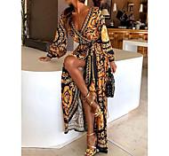 abordables -Femme Robe Portefeuille Robe longue maxi Jaune Manches Longues Autre Imprimé Printemps été V Profond chaud Bohème robes de vacances 2021 S M L XL XXL
