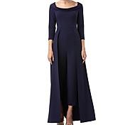 abordables -Tailleur-pantalon Robe de Mère de Mariée  Combinaison-pantalon Encolure dégagée Longueur Sol Jersey Manches 3/4 avec Robe pan volant 2021 / Cloche