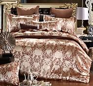 abordables -Vente chaude maison literie ensemble jacquard housse de couette ensemble 3 pcs literie luxueux literie reine roi taille ensembles de lit doré bleu sans drap