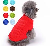 economico -Gatto Cane Maglioni Vestiti del cucciolo Tinta unita Classico Tenere al caldo Inverno Abbigliamento per cani Vestiti del cucciolo Abiti per cani Giallo Rosso Verde cacciatore Costume per ragazza e