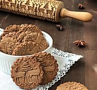 economico -35 cm legno natale goffratura mattarello biscotti biscotti biscotto torta fondente inciso rullo stick strumento di pasticceria cottura