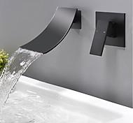 abordables -Robinet lavabo - Montage mural / Jet pluie Noir Montage mural Mitigeur deux trousBath Taps