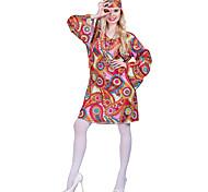 economico -Nappa Vintage Anni '60 Hippie Anni '70 Vestito da Serata Elegante Tipo Funk Per donna Costume Rosso Vintage Cosplay Manica lunga / Fantasia floreale / Discoteca