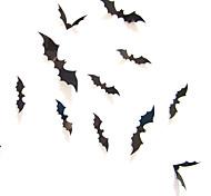 abordables -12pcs noir 3D bricolage chauve-souris stickers muraux Halloween accessoires de décoration de la maison