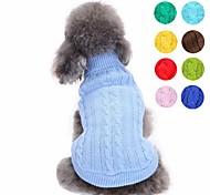 economico -Prodotti per cani Maglioni Vestiti del cucciolo Tinta unita Di tendenza Stile semplice Abbigliamento per cani Vestiti del cucciolo Abiti per cani Giallo Rosso Verde Chiaro Costume per ragazza e