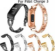 abordables -1 pièces Bracelet de Montre  pour Fitbit Conception de bijoux Acier Inoxydable Sangle de Poignet pour Fitbit Charge 3