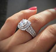 economico -Donna Anello Zircone cubico Classico Bianco Placcato in oro Matrimonio Il grande Gatsby 1 pc 6 7 8 9 10 / Per donna / Diamante sintetico