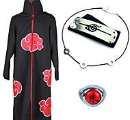 abordables -Inspiré par Naruto Akatsuki Itachi Uchiha Manga Costumes de Cosplay Japonais Costumes de Cosplay Plus d'accessoires Animé Manteau Colliers décoratif Bandeau Pour Homme Femme / Bague