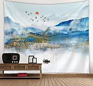 abordables -Peinture à l'encre de Chine style tapisserie murale art décor couverture rideau suspendu maison chambre salon décoration paysage montagne oiseau soleil
