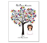 abordables -Livre de bricolage personnalisé signature arbre bricolage empreinte digitale d'arbre pour filles premières décorations de souvenir de communion sacrée 40 * 60 cm
