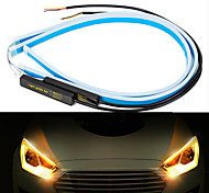 abordables -2pcs 45cm voiture universelle drl led bande flexible coulant clignotant lumières auto angel yeux jour lampe de course décoration lumières