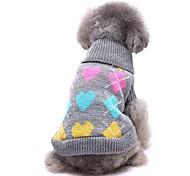 economico -Prodotti per cani Maglioni Vestiti del cucciolo Amore Casual Inverno Abbigliamento per cani Vestiti del cucciolo Abiti per cani Nero Grigio Costume per ragazza e ragazzo cane Fibra acrilica XS S M L