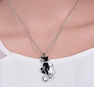 economico -Per donna Collane con ciondolo Gatto Dolce Cromo Diamanti d'imitazione Argento 42+5 cm Collana Gioielli Per Quotidiano