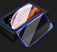 abordables -téléphone Coque Pour Apple Coque Intégrale Adsorption Magnétique Aimantée iPhone 12 Pro Max 11 SE 2020 X XR XS Max 8 7 6 Antichoc Transparente Double Face Transparente Couleur Pleine Armure Verre