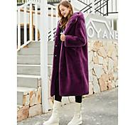 economico -Per donna Tinta unita Essenziale Autunno inverno Cappotto di pelliccia sintetica Lungo Feste Manica lunga Pelliccia sintetica Cappotto Top Viola