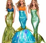 economico -Coda da Sirena Aqua Queen Aqua Princess Costume cosplay Vestito da Serata Elegante Per donna Cosplay di film Dorato Verde acqua Viola Coda di pesce sirena Bikini Natale Halloween Carnevale Terylene