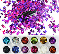 economico -12 colori / set laser farfalla nail art paillettes sparkle acrilico paillettes glitter olografici fiocchi glitter 3d gel uv decorazioni per unghie