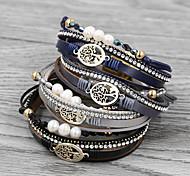 abordables -Bracelet de charme Bracelet Bracelets Bracelet enveloppant Femme Multirang Imitation Perle Arbre de la vie arbre de la vie Mode Baroque Européen initiale Bohème Bracelet Bijoux Noir gris foncé Bleu